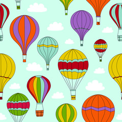 Seamless Background of Hot Air Balloons