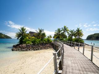Ocean Landscape Boardwalk Walkway Over Beach out to Lone Palm Tree Island in Fiji
