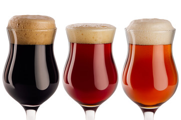 Set  of different beer in wineglasses with foam closeup - lager, red ale, porter -  isolated on white background.