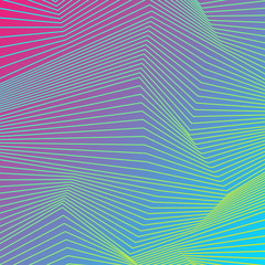 Colorful curved lines refraction pattern design