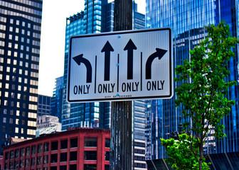 Turning lane sign for 4 lane on Chicago's Wacker Drive.