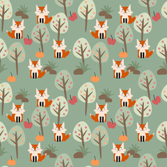 Funny fox in the forest seamless pattern vector.