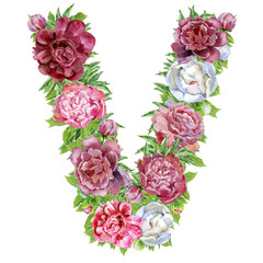 Letter V of watercolor flowers