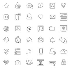 set of social media icon whit thin line and simple style use for web and pictogram presentation asset, editable stroke