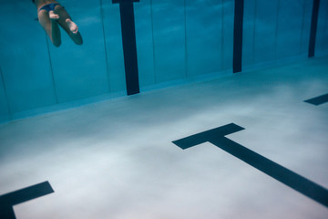Close up of swimming pool underwater