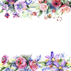 Colorful bouquet. Floral botanical flower. Frame border ornament square. Aquarelle wildflower for background, texture, wrapper pattern, frame or border.