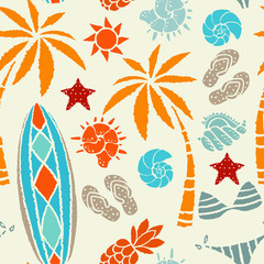 Seamless pattern with sun, palm tree, surfboards, pineapple, flip flop sandals, sea shell, bikini, swimsuits, starfish