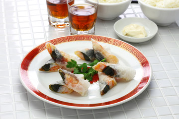 wafer prawn rolls with century egg, chinese dim sum