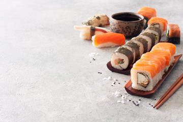 Close up Sushi Set, Soy Sauce, Ginger and Chopstiks