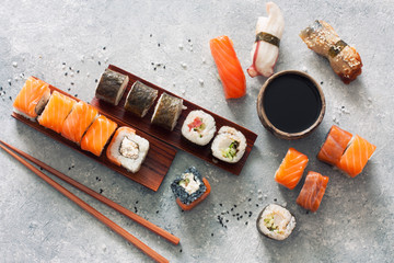 Sushi set, soy sauce, ginger and chopstiks