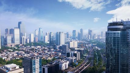 Beautiful Jakarta city under clear sky
