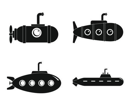 Periscope submarine telescope icons set. Simple illustration of 4 periscope submarine telescope vector icons for web