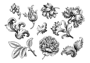 Rose peony flower vintage Baroque Victorian frame border floral ornament leaf scroll engraved retro pattern decorative design tattoo black and white filigree calligraphic vector set