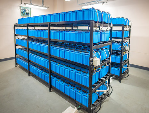 Battery room,Rows of batteries in industrial backup power system.