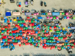 Aerial view of flea market
