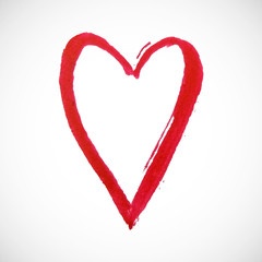 Red heart on white background. Hand-drawn painted heart for t-shirt print, flyer, poster design. Vector illustration.