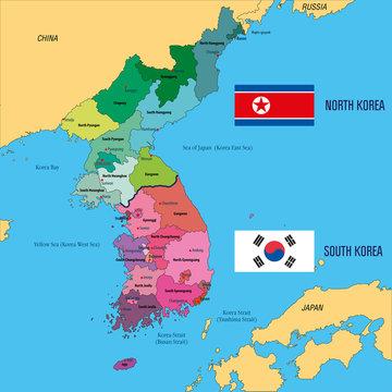 Korea vector colorful map