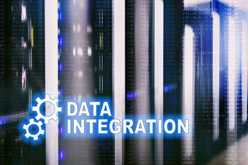 Data integration information technology concept on server room background.