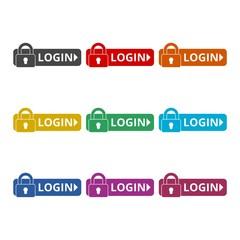 Login icon, Secure access button, color icons set