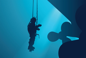 Diver inspects a propeller under water Wall mural