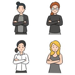 vector set of women