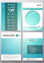 Business templates for brochure, magazine, flyer, booklet, report. Cover design template, vector layout in A4 size. Chemistry pattern, molecule structure, medical DNA research. Medicine concept.