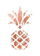 Trendy Copper Pineapple. Vector.