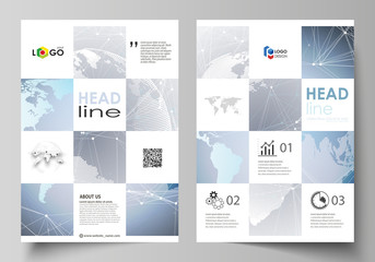 The vector illustration of the editable layout of A4 format covers design templates for brochure, magazine, flyer, booklet, report. Technology concept. Molecule structure, connecting background.
