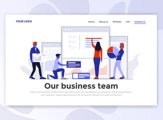 Flat Modern design of Landing Page template - Business team
