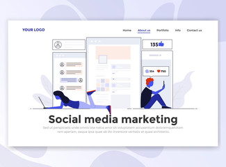 Flat Modern design of Landing page template - Social Media Marketing