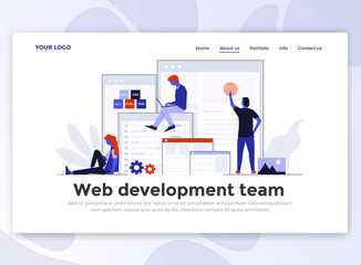 Flat Modern design of Landing page template - Web Development