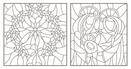 Set of contour illustrations of stained glass Windows on biblical theme, Jesus baby with Mary and Joseph and Christmas wreath with Holly, dark outlines on white background