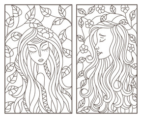 Set of contour illustrations of stained glass Windows with abstract girls on the background of tree branches, dark contours on a white background