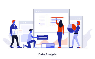 Modern Flat design Concept Illustration - Data Analysis