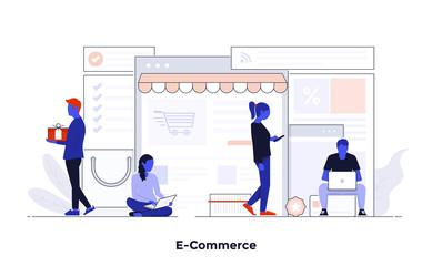 Modern Flat design Concept Illustration - E-Commerce