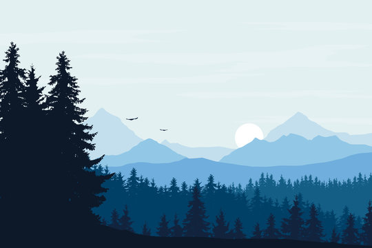Vector realistic illustration of mountain landscape with forest, blue sky with clouds and rising sun