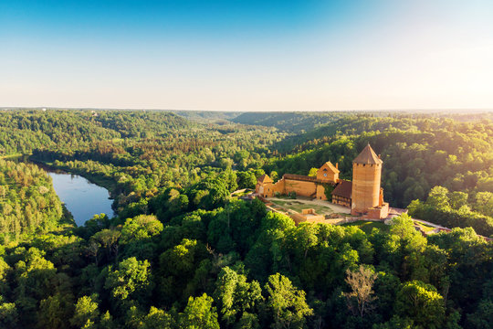 aerial view to the Turaida castle and river Gauja at sunset, Latvia