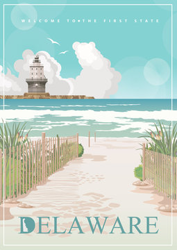 Delaware vector illustration with colorful detailed landscapes in modern flat design