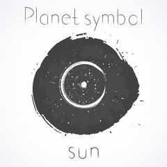Vector illustration with Hand drawn astrological planet symbol SUN on a grunge ink background. Monochrome.