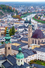 View from Hohensalzburg on Franciscan Church and Salzah river, Salzburg, Austria