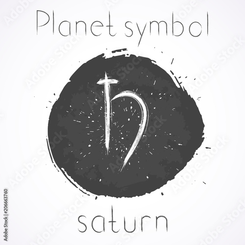 Vector Illustration With Hand Drawn Astrological Planet Symbol