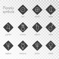 Vector set of grunge icons with astrological planets symbols on a transparent background. Signs collection: sun, earth, moon, saturn, uranus, neptune, jupiter, venus, mars, pluto, mercury. Monochrome.