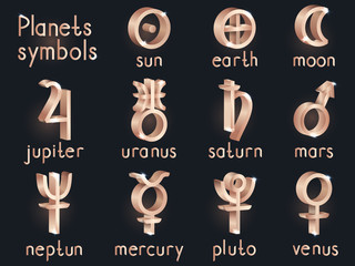 Vector set of 3d astrological planets symbols. Gold signs collection: sun, earth, moon, saturn, uranus, neptune, jupiter, venus, mars, pluto, mercury.