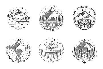 Travel set with emblems. Summer vector illustrations. Design