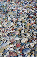 Variety of round coastal pebbles on a sunny day on sea shore.