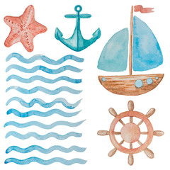 Cool collection of marine elements painted in red and blue watercolor