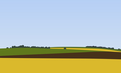 Farm landscapes with green, brown and yellow fields with trees in the background, Beautiful rural nature