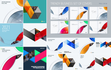 Mega set of triangular abstract templates for business, trendy colourful shapes, design banner, stand, corporate identity, brand printing.