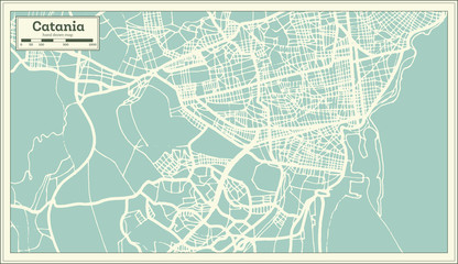 Catania Italy City Map in Retro Style. Outline Map.