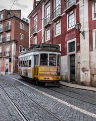 Tram railway in the hills of Lisbon